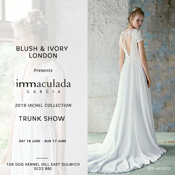 Inmaculada Garcia Barcelona wedding dresses bridal trunk show blush ivory London