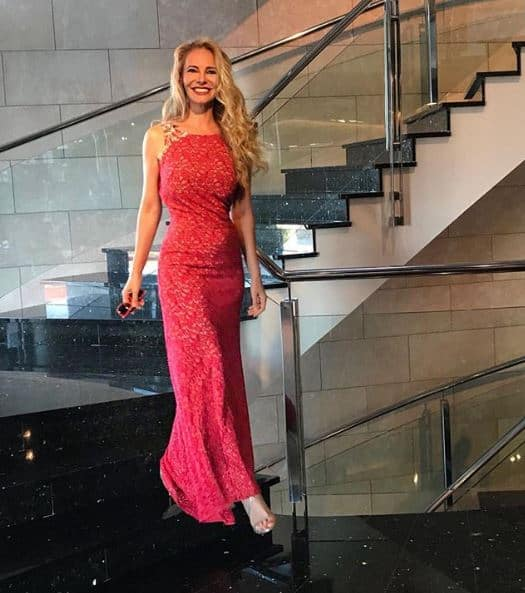 Paula Vázquez dressed in an Inmaculada García Barcelona evening dress